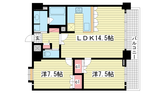 物件番号: 1025830023 リーガル神戸下山手  神戸市中央区下山手通3丁目 2LDK マンション 間取り図