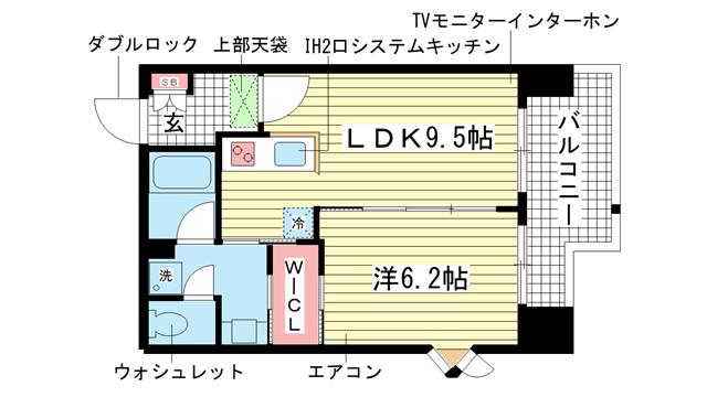 物件番号: 1025830027 インベスト神戸エアフロント  神戸市中央区北本町通4丁目 1LDK マンション 間取り図