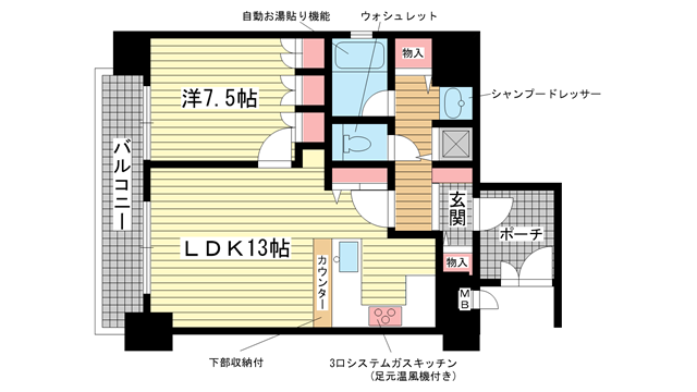 物件番号: 1025830481 リーガル神戸下山手  神戸市中央区下山手通3丁目 1LDK マンション 間取り図