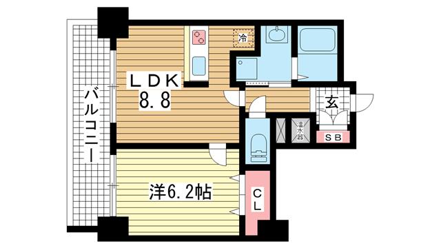 物件番号: 1025830485 アドバンス三宮Ⅲリンクス  神戸市中央区日暮通1丁目 1LDK マンション 間取り図