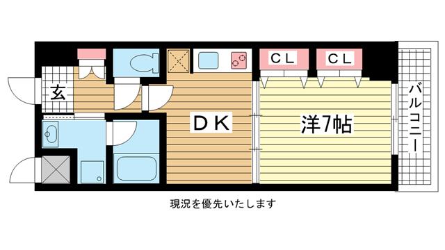 物件番号: 1025830494 プレジール三宮Ⅱ  神戸市中央区加納町2丁目 1DK マンション 間取り図