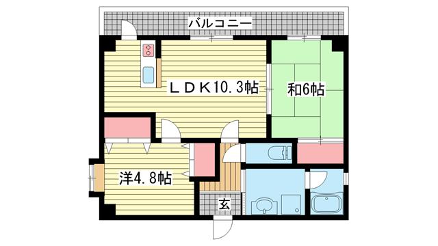 物件番号: 1025830685 グランディア 新神戸LEGEND  神戸市中央区野崎通2丁目 2LDK マンション 間取り図