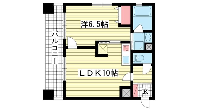 物件番号: 1025830691 エスリード三宮第2  神戸市中央区浜辺通6丁目 1LDK マンション 間取り図