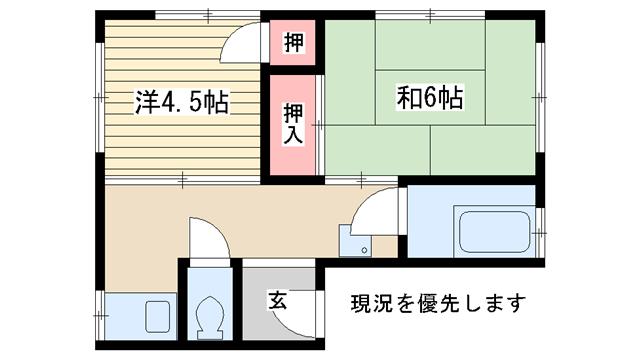 物件番号: 1025831158 不二ビル  神戸市中央区南本町通3丁目 2K マンション 間取り図