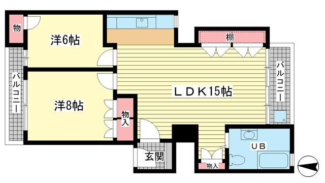 物件番号: 1025831206 ニュー神戸マンション  神戸市中央区山本通4丁目 2LDK マンション 間取り図