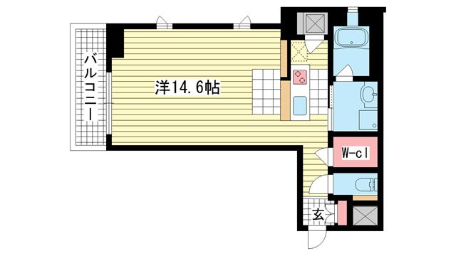 物件番号: 1025831250 KAISEI神戸北野町  神戸市中央区北野町2丁目 1R マンション 間取り図