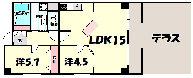 物件番号: 1025831425 グランドビスタ北野  神戸市中央区加納町2丁目 2LDK マンション 間取り図