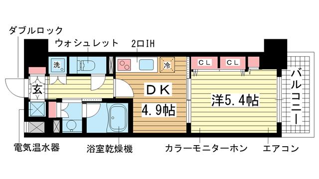 物件番号: 1025831463 レジディア神戸磯上  神戸市中央区磯上通3丁目 1DK マンション 間取り図