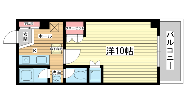 物件番号: 1025831539 マンションカザミドリ  神戸市中央区北野町3丁目 1K マンション 間取り図