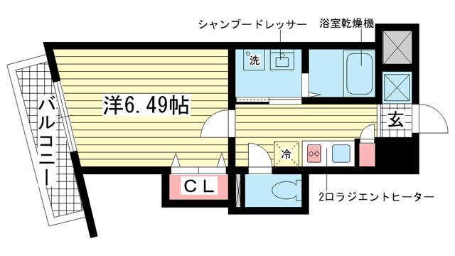 物件番号: 1025831546 アネスト神戸西元町  神戸市中央区北長狭通7丁目 1K マンション 間取り図