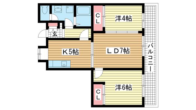 物件番号: 1025831888 昭和レジデンス  神戸市兵庫区矢部町 2LDK マンション 間取り図