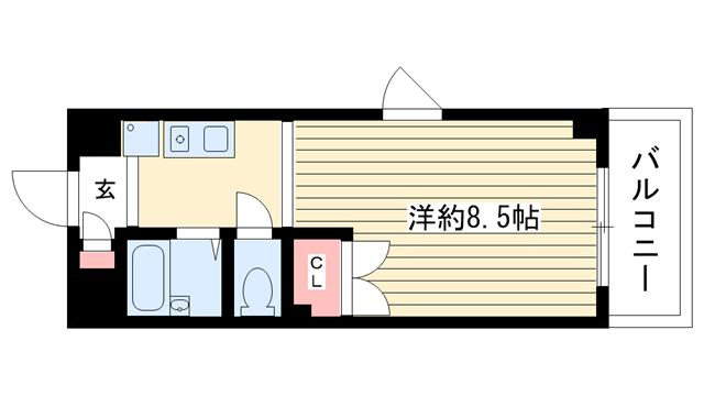 物件番号: 1025831917 サイトピア本山  神戸市東灘区田中町3丁目 1K マンション 間取り図