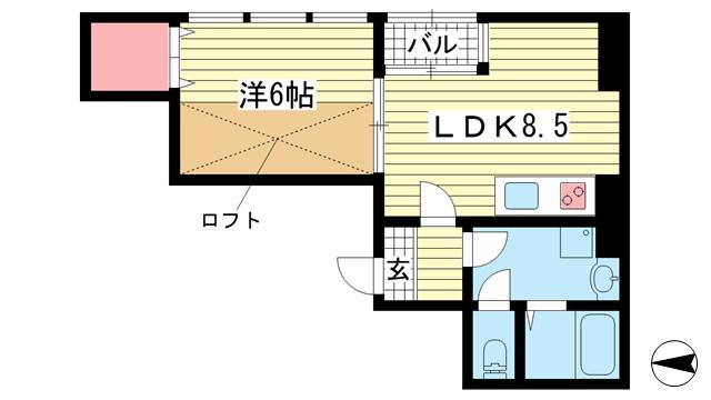 物件番号: 1025831946 サンビルダーパールビル  神戸市中央区生田町3丁目 1SDK マンション 間取り図