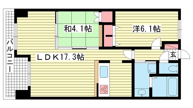 物件番号: 1025831948 レジディア三宮東  神戸市中央区磯上通3丁目 2LDK マンション 間取り図