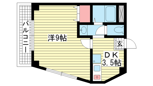 物件番号: 1025832024 マーブルコート三宮  神戸市中央区生田町4丁目 1DK マンション 間取り図