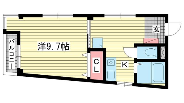 物件番号: 1025832033 シャルマン中山手  神戸市中央区中山手通2丁目 1DK マンション 間取り図