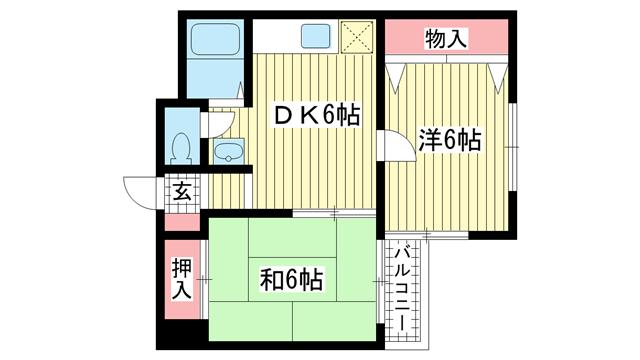 物件番号: 1025832042 サチハイツ  神戸市兵庫区小河通2丁目 2DK マンション 間取り図