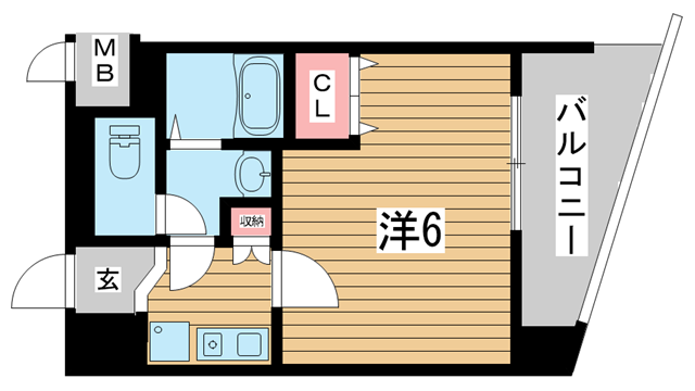 物件番号: 1025832383 ラナップスクエア神戸県庁前  神戸市中央区花隈町 1K マンション 間取り図