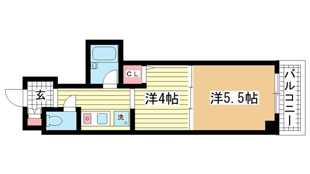 物件番号: 1025832440  神戸市中央区下山手通4丁目 1DK マンション 間取り図