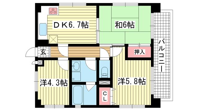 物件番号: 1025832448 セントラルハイツ三宮東  神戸市中央区若菜通6丁目 3DK マンション 間取り図