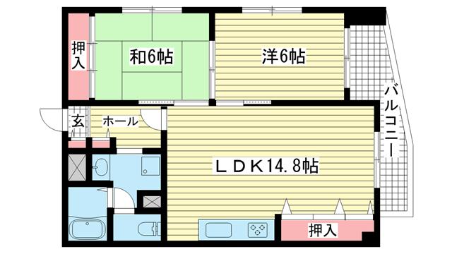 物件番号: 1025832521 ワコーレアルテ中山手  神戸市中央区中山手通3丁目 2LDK マンション 間取り図