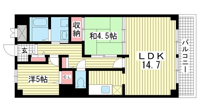 物件番号: 1025832522 ワコーレアルテ中山手  神戸市中央区中山手通3丁目 2LDK マンション 間取り図
