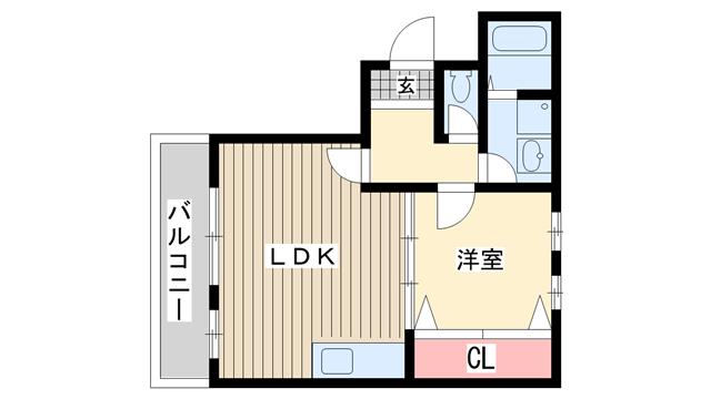 物件番号: 1025832597 アルカディア三宮  神戸市中央区小野柄通3丁目 1LDK マンション 間取り図
