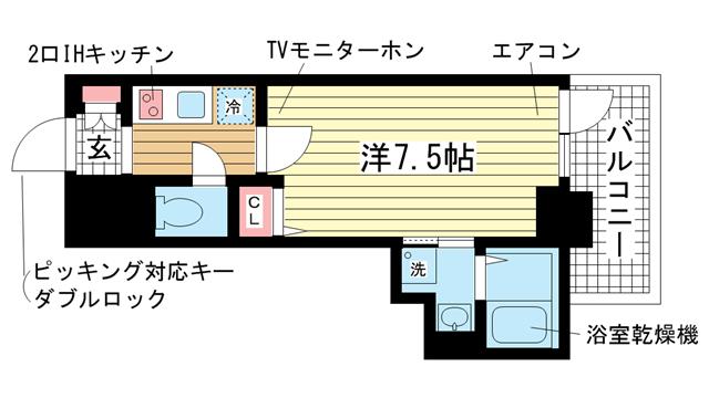 物件番号: 1025832747 カシータ神戸元町JP  神戸市中央区花隈町 1K マンション 間取り図