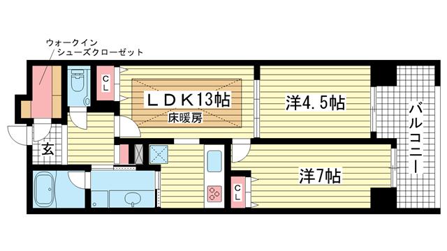 物件番号: 1025832870 エスコートみなと元町海岸通  神戸市中央区海岸通5丁目 2LDK マンション 間取り図