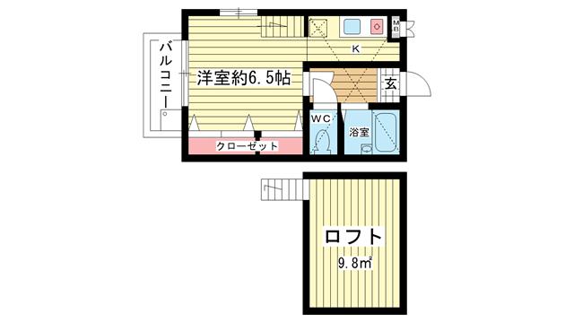 物件番号: 1025832881 MARIS' KITANO  神戸市中央区山本通3丁目 1K ハイツ 間取り図