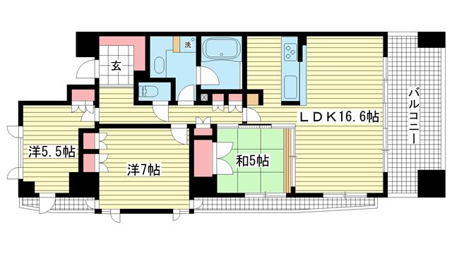 物件番号: 1025832935 アーバネックス三宮磯辺通  神戸市中央区磯辺通1丁目 3LDK マンション 間取り図