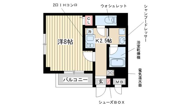 物件番号: 1025833012 ネバーランド  神戸市中央区琴ノ緒町2丁目 1K マンション 間取り図