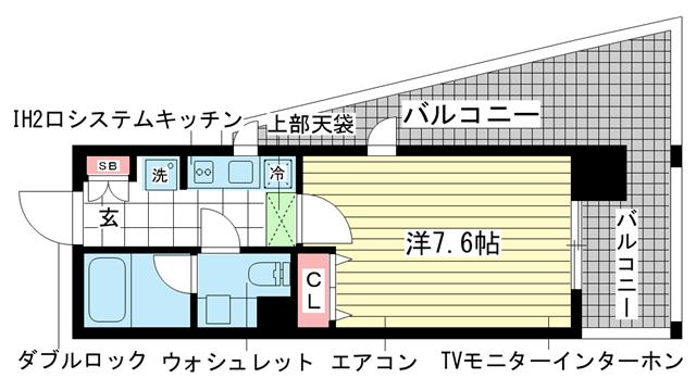 物件番号: 1025833025 インベスト神戸エアフロント  神戸市中央区北本町通4丁目 1K マンション 間取り図