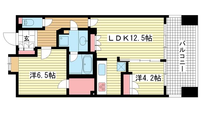 物件番号: 1025833120 アーバネックス三宮磯辺通  神戸市中央区磯辺通1丁目 2LDK マンション 間取り図