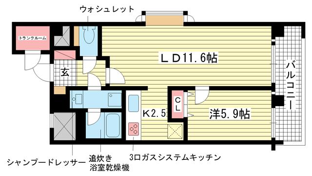 物件番号: 1025833240 プレサンス神戸三宮  神戸市中央区雲井通4丁目 1LDK マンション 間取り図