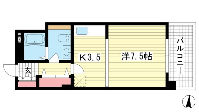 物件番号: 1025833314 マザーズ北野坂  神戸市中央区中山手通1丁目 1K マンション 間取り図