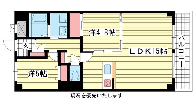 物件番号: 1025833373 ワコーレアルテ中山手  神戸市中央区中山手通3丁目 2LDK マンション 間取り図