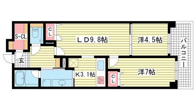 物件番号: 1025833392 エスコートみなと元町海岸通  神戸市中央区海岸通5丁目 2LDK マンション 間取り図