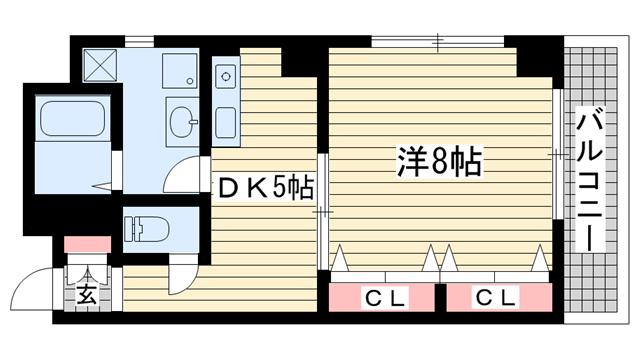 物件番号: 1025833409 トライレイトナ  神戸市兵庫区塚本通5丁目 1DK マンション 間取り図