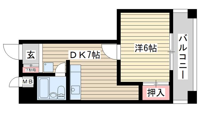 物件番号: 1025833444 花隈ダイヤハイツ  神戸市中央区花隈町 1DK マンション 間取り図