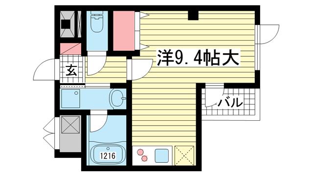物件番号: 1025833556 越智ビル  神戸市中央区磯上通8丁目 1R マンション 間取り図