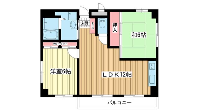物件番号: 1025833629 テイク摩耶  神戸市灘区倉石通3丁目 2LDK マンション 間取り図