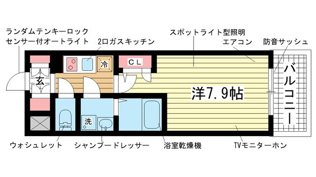 物件番号: 1025833677 エスリード神戸海岸通  神戸市中央区海岸通4丁目 1K マンション 間取り図