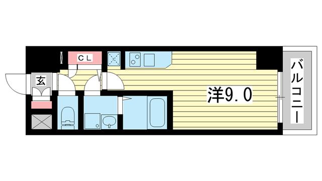 物件番号: 1025833697 エスリード神戸海岸通  神戸市中央区海岸通4丁目 1R マンション 間取り図