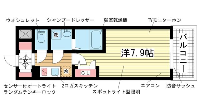 物件番号: 1025833709 エスリード神戸海岸通  神戸市中央区海岸通4丁目 1K マンション 間取り図