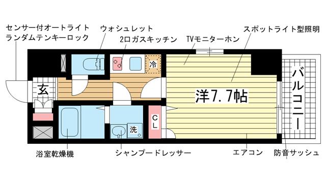 物件番号: 1025833719 エスリード神戸海岸通  神戸市中央区海岸通4丁目 1K マンション 間取り図