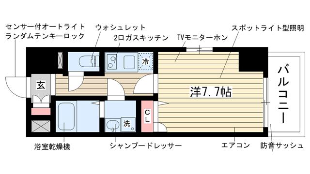 物件番号: 1025833725 エスリード神戸海岸通  神戸市中央区海岸通4丁目 1K マンション 間取り図