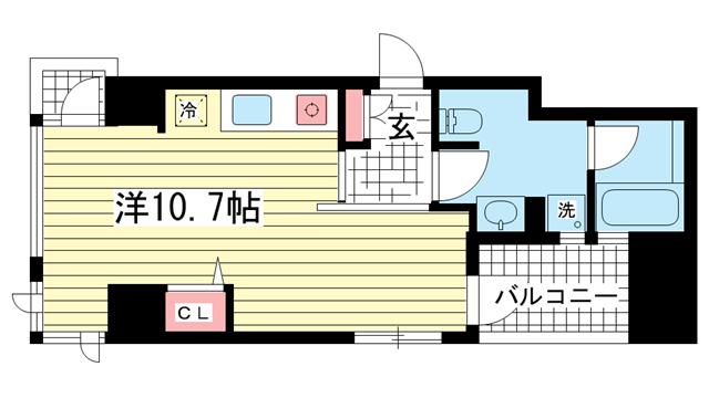 物件番号: 1025833743 ワコーレ三宮ランドマークシティ  神戸市中央区磯辺通2丁目 1R マンション 間取り図