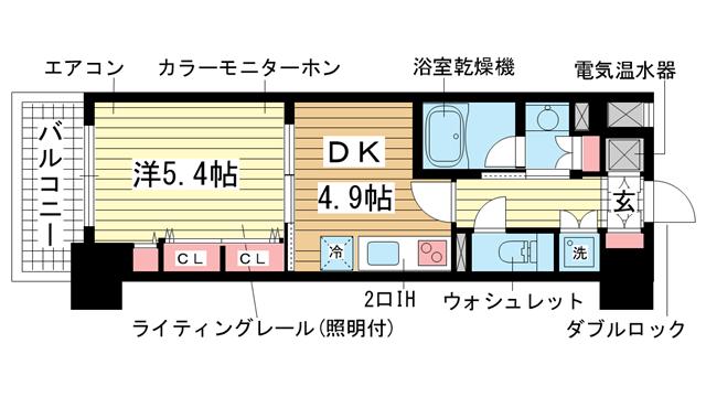 物件番号: 1025833765 レジディア神戸磯上  神戸市中央区磯上通3丁目 1DK マンション 間取り図