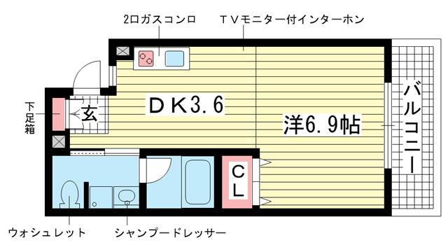 物件番号: 1025833856 ライフデザイン三宮東  神戸市中央区日暮通4丁目 1DK マンション 間取り図
